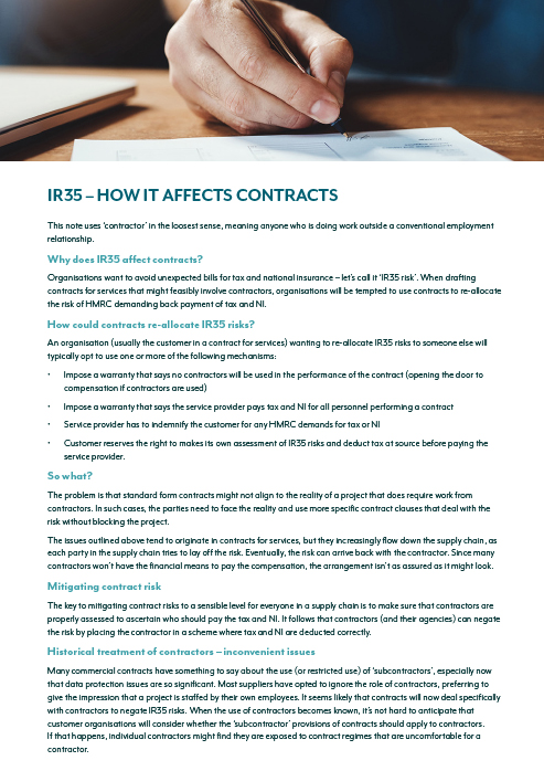 IR35 – How it affects contracts