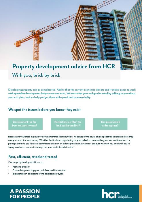 Property development advice from HCR