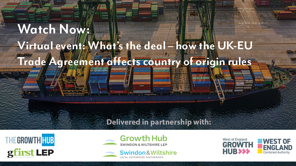 Webinar: What's the deal – how the UK-EU Trade Agreement affects country of origin rules