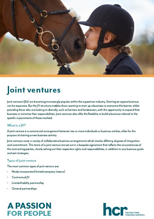 Equine joint ventures