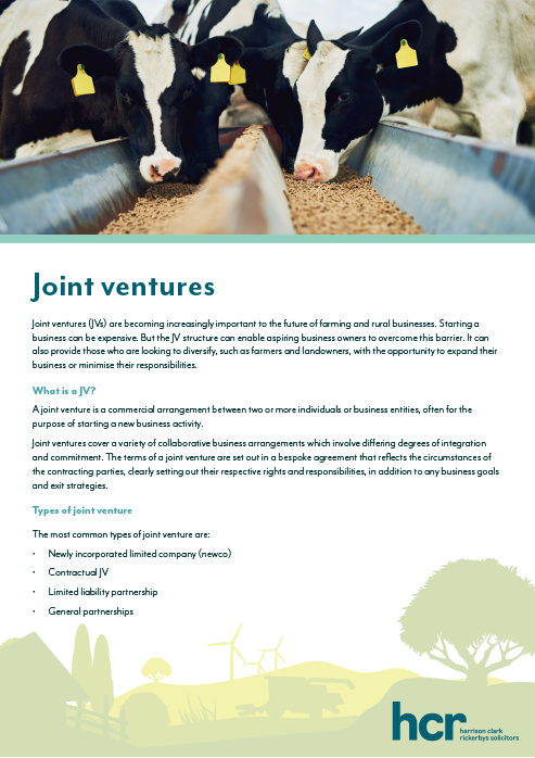 Agriculture and Rural Affairs Joint Ventures